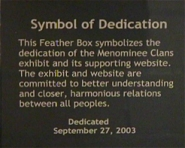The Dedication Placque from the dedication ceremony on Saturday, September 27, 2003
