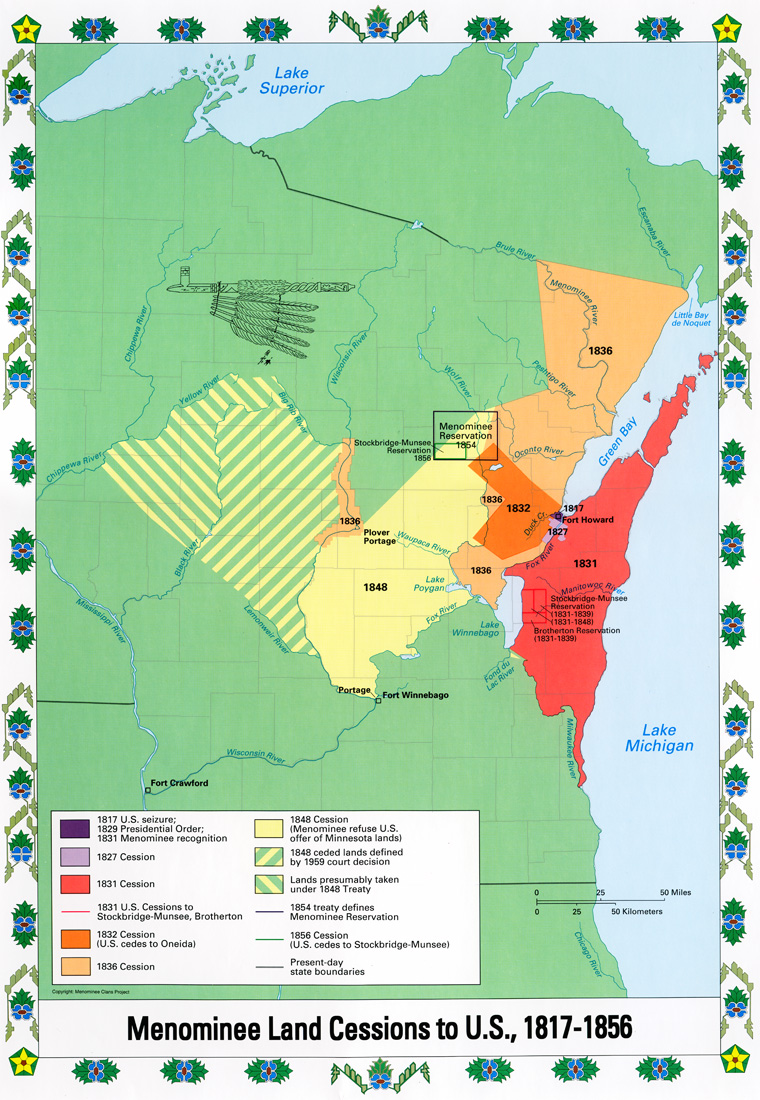 The Menominee Clans Story - 1829 us map